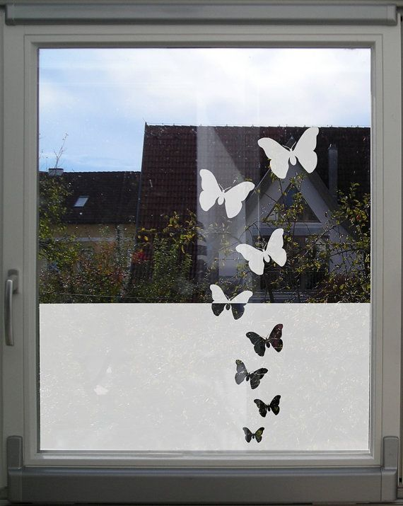 This decorative window privacy film with butterflies is a very nice and stylish way to prevent people from peeping into your home or office. At the same time, it lets the light to come through into the rooms. The decal is made of high quality glass film, will last for years indoors and outdoors and is reversible. ____________________ → size: • the privacy part is 16,7 tall (42,4 cm) • 3 butterflies: 5,1 (13 cm), 5,7 (14,5 cm) and 6,3 (16 cm) wide, can be arranged above the large part →…