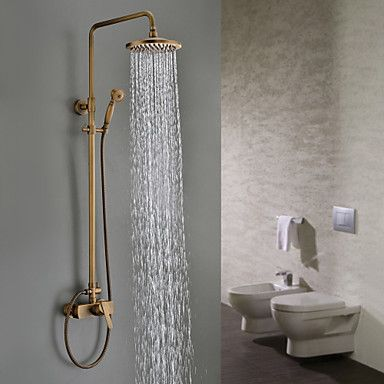 Sprinkle® by Lightinthebox - Antique Brass Tub Shower Faucet with 8 inch Shower Head + Hand Shower - USD $ 239.99