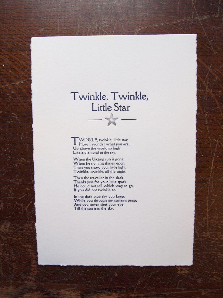 Twinkle Twinkle Little Star nursery rhyme, a hand printed letterpress print by TheSmallprintCompany on Etsy