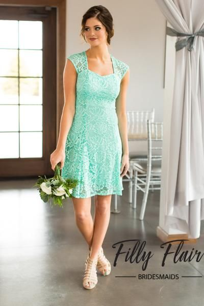 The perfectand classic dress for any wedding and any season! This beautiful lace bridesmaid dress is complete with a capped sleeve and a cut out back, making this one unforgettable mintbridesmaid dress! Pairs perfectly with a classic heel or western boots for any country weddings! Your girls will look and feel fabulous in these stunning bridesmaid dresses! 90% nylon10% LycraHand Wash ColdMade in U.S.A. FIT: This garment runs small. We suggest sizing up one size.BUST: Great for any cup…