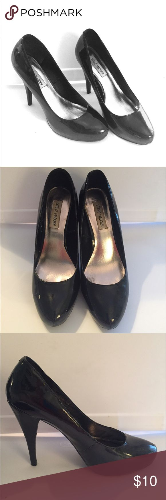 Steve Madden Black Patent Leather Heels Steve Madden Black Heels size 8 1/2 medium. In great condition. Patent leather. 5 inch heel with 3/4 inch platform. Steve Madden Shoes Heels