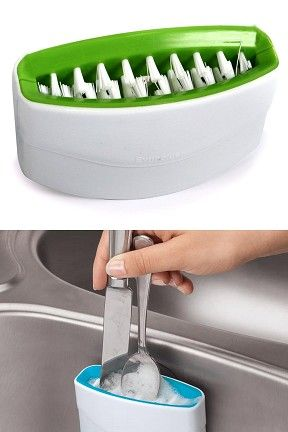 Sink mounted scrubber for forks, knives and spoons.