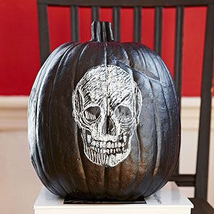No-Carve Pumpkin: Chalk Skull: Halloween Parties, Chalk Skull, Chalkboards Pumpkin, Lady Home Journals, Fashion Halloween, Holidays Halloween, Halloween Pumpkin, Crafts Bloggers, Journals Note