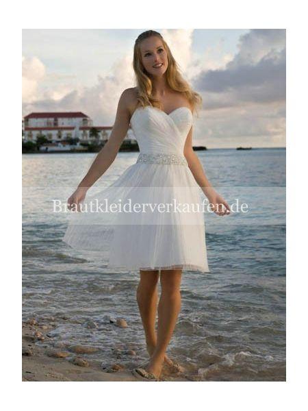Herz-Ausschnitt Hochzeitskleid kurz für Hochzeit am Strand