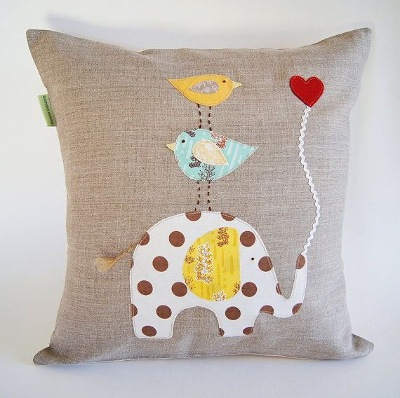 How To Make Cute Animal Pillows : Children s Organic Linen Pillow Cover/ Elephant with Birds/ Good to H?