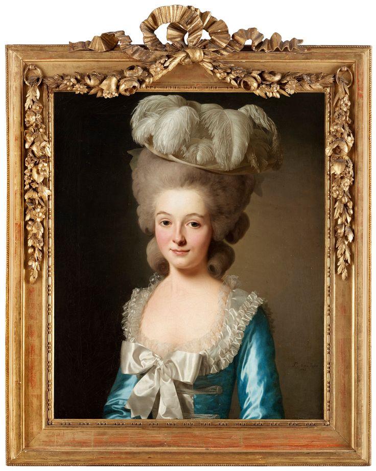 """Porträtt av fransk dam, (kallad """"Mademoiselle de Bionville""""). Signerad P. te p: le chev. Roslin och daterad 1780. Uppfodrad duk 73 x 59 cm."""