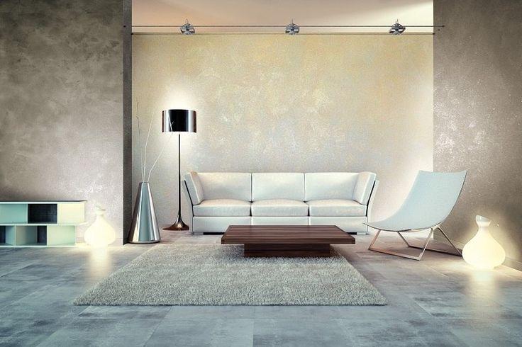 peinture à effet métal en beige satiné, table ultra basse et tapis taupe dans le salon