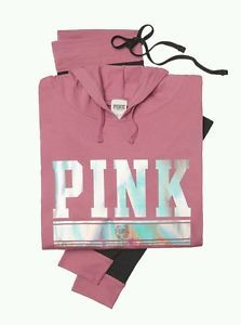 NEW-VICTORIA-039-S-SECRET-PINK-Blink-LOGO-Hoodie-amp-Legging-Size-XS-UK6-8