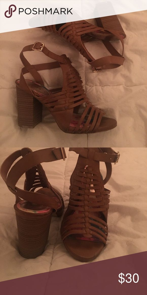 Madden girl strappy heels Brown strappy heels with chunky heel. Very comfortable and are so cute with jeans or a dress! True to size. Have only been worn a couple of times. Madden Girl Shoes Heels