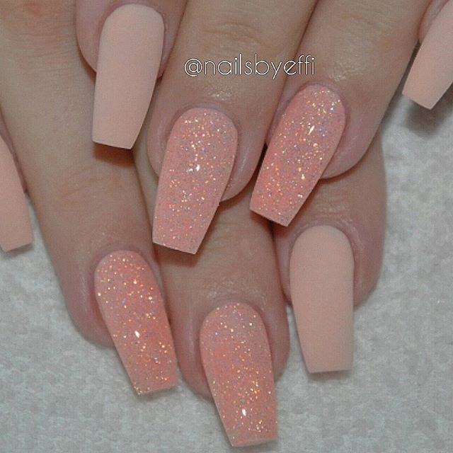 Never tired of this Peach matte with glitter