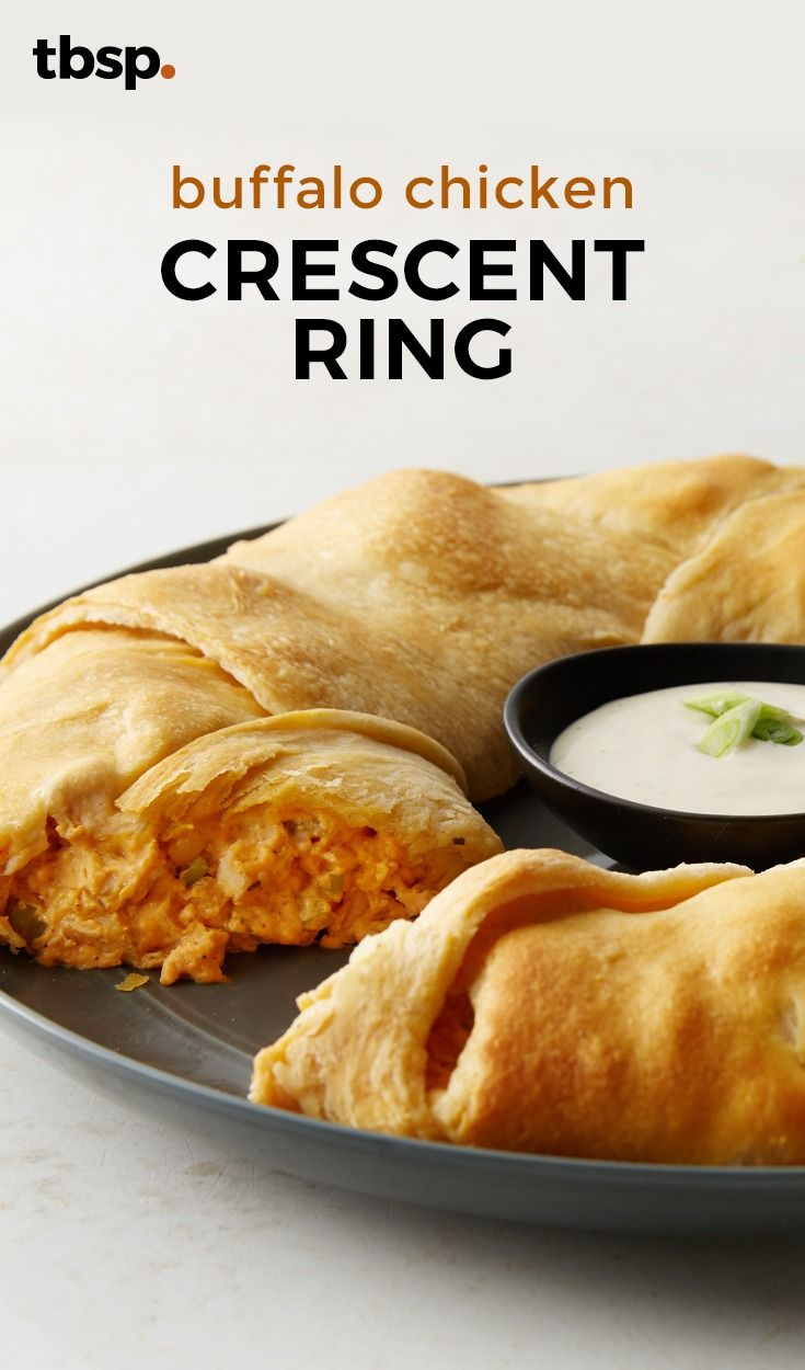 Like buffalo chicken? Then you're gonna love, love, lurrrve this recipe for this incredible Buffalo Chicken Ring! Buttery crescents bake around a savory filling. Perfect for parties!