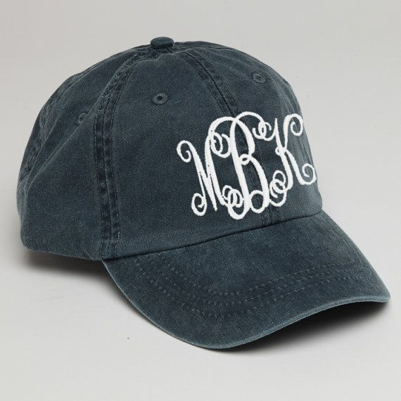 1640ba521 Navy Blue Monogram Baseball Cap for Ladies-Pigment Dyed Hat with ...