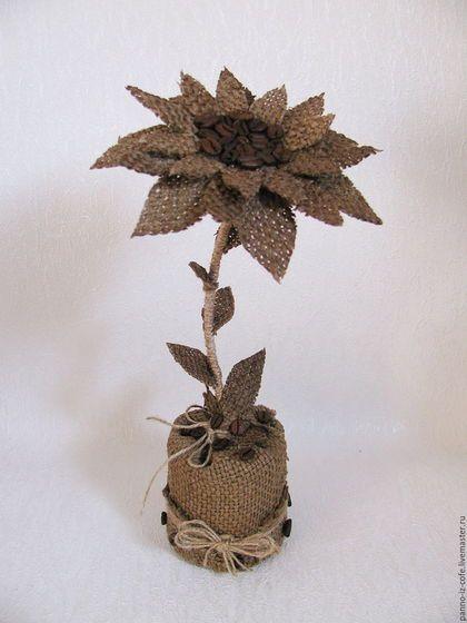 """Burlap decor tree / Топиарии ручной работы. Ярмарка Мастеров - ручная работа. Купить Топиарий из мешковины и кофе """"Цветок счастья"""". Handmade. Коричневый, топиарий"""