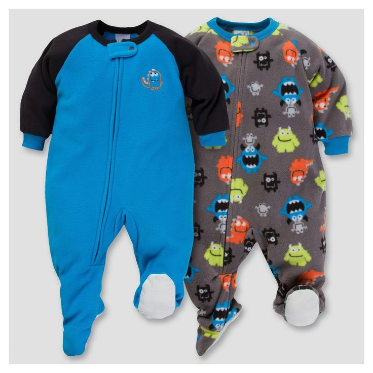 Gerber Baby Boy 2pk Monster Microfleece Zip-Front Footed Blanket Sleepers - Blue