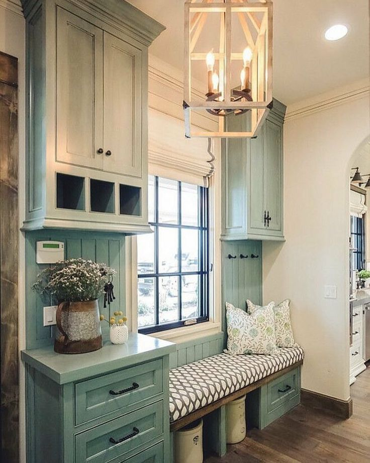 Farmhouse Mudroom With Window Seat And Blue Grey Cabinets Alicia Zupan
