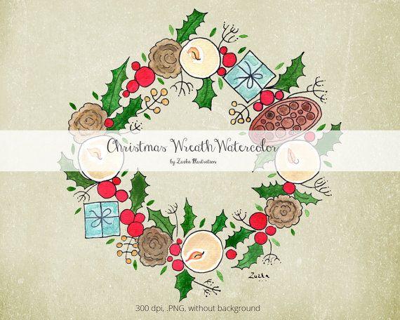Christmas Wreath Watercolor Handpainted Xmas Digital Clip art Collection