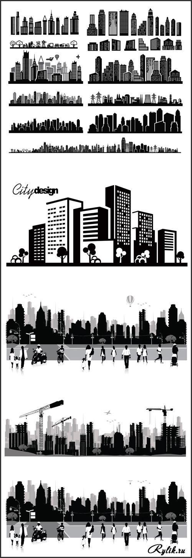 Город и люди - черно-белые векторные рисунки и силуэты. City and people - Vector photo