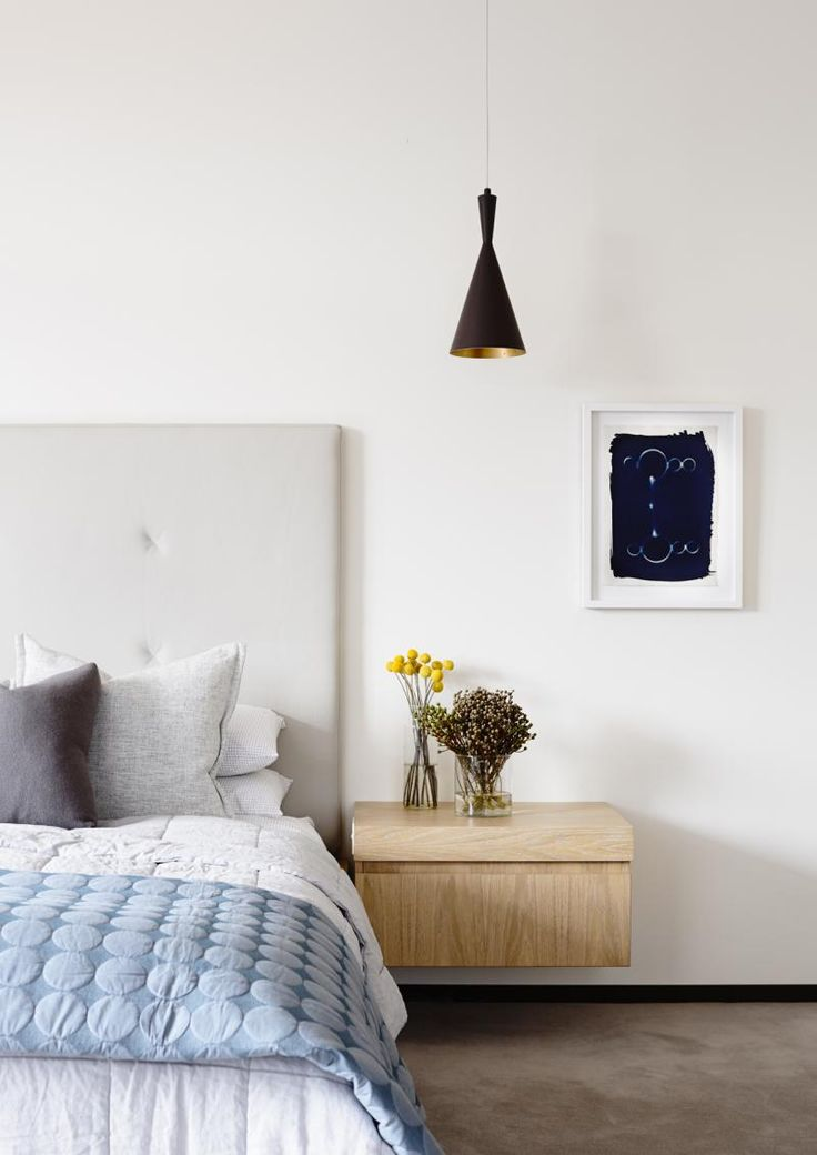Swinburne Avenue Residence by Doherty Design studio and Craig Rosetti Architects. Bespoke bedhead, pendant and a floating bedside table.