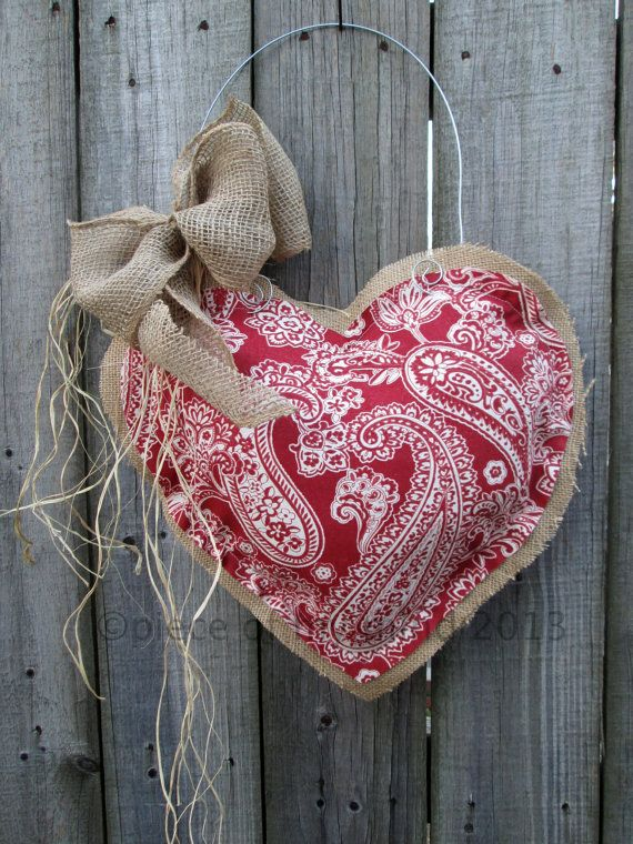 Valentine Day Burlap Door Hanger Damask Heart by nursejeanneg, $28.00