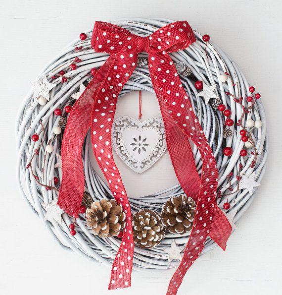 White wreath, Christmas wreaths for front door, winter wreath