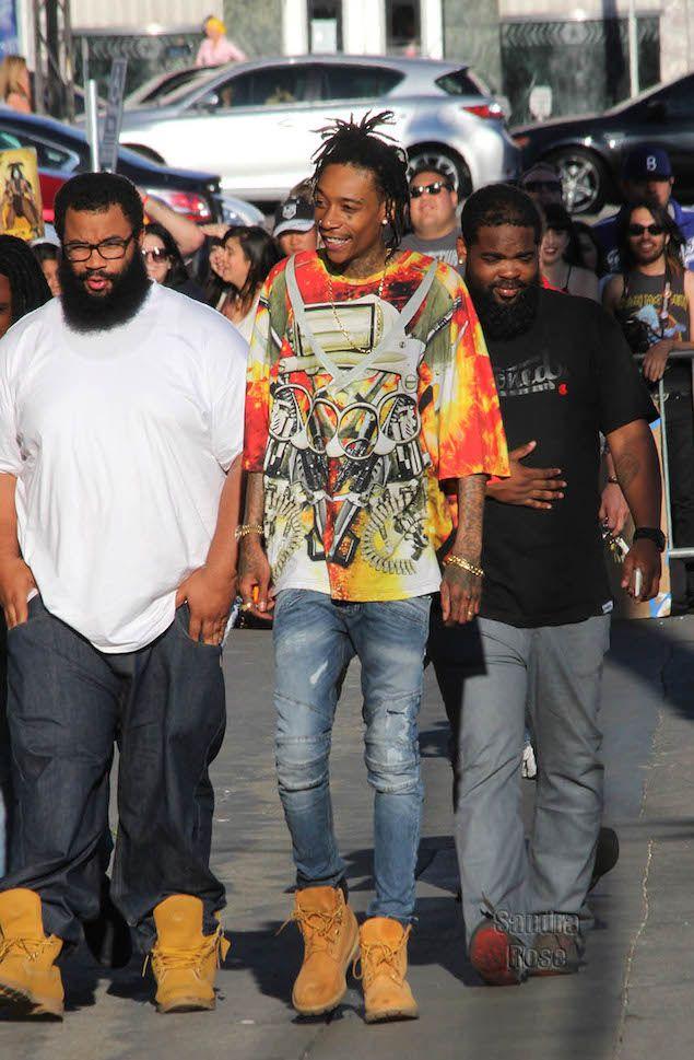 Wiz Khalifa Wears Ktz Weapon Print T Shirt Pierre Balmain