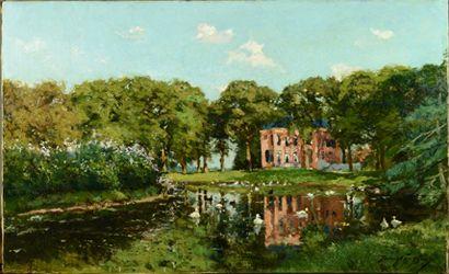 Franz Courtens - Gezicht op Huize Barnaart Landgoed Vogelenzang - na behandeling - Restauratieatelier Haarlem