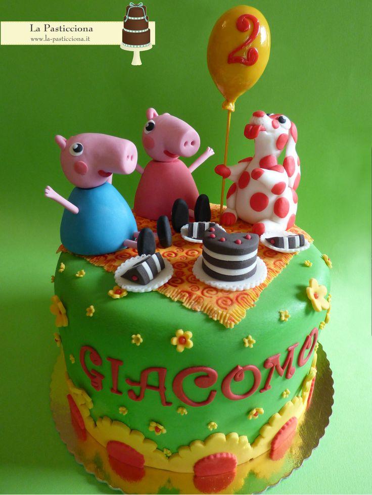Torta di compleanno con Pimpa, Peppa Pig e George Pig www.la-pasticciona.it