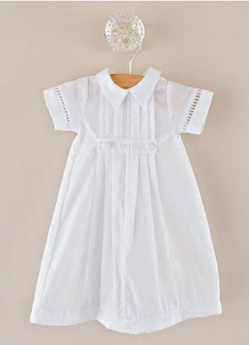 Little David Preemie Baptism Gown and Bonnet. Traditional gown styling for your little baby boy: pleated summer-weight cotton lawn with crisp shirt collar, rows of pleats, and old-fashioned entre-deux trim.