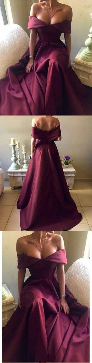 Simple Burgundy Off Shoulder Long Satin Prom Dresses M1313#prom #promdress #promdresses #longpromdress #promgowns #promgown #2018style #newfashion #newstyles #2018newprom #eveninggown #burgundy #offshoulder #simpledress #satin