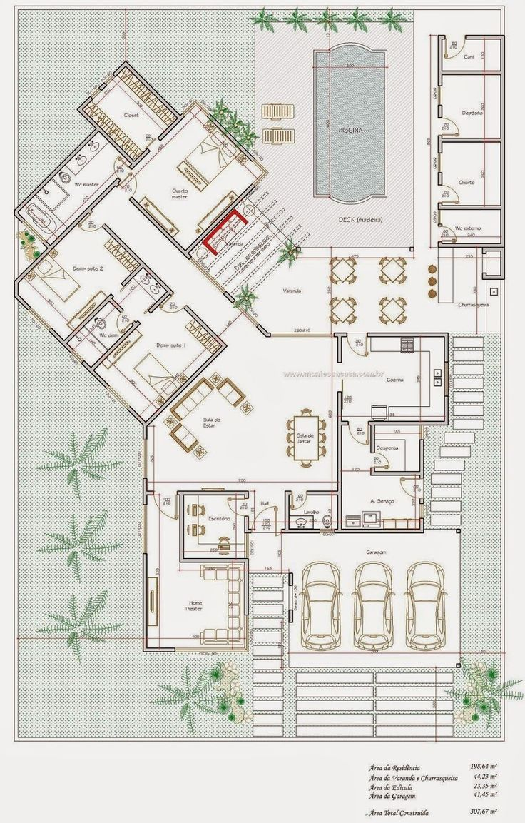 Projeto de Casas: Projeto de casa térrea de 200 m²