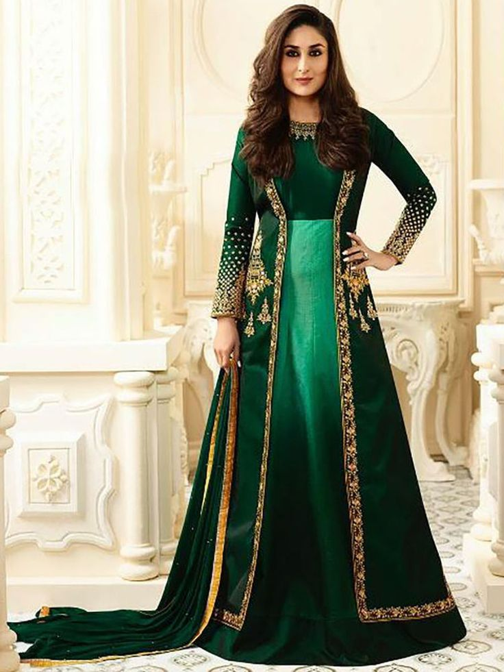 Indian ethnic Bollywood Party wear embroidered Unstitched Anarkali Salwar Suit #Indian #SalwarKameez