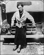 Bonnie Elizabeth Parker (October 1, 1910 – May 23, 1934) was born in Rowena, Texas, the second of three children. Her father, Charles Parker, a bricklayer, died when Bonnie was four. Her mother, Emma Krause, moved with the children to her parents' home in Cement City, an industrial suburb of Dallas, where she found work as a seamstress. Parker was one of the best students in her high school, winning top prizes in spelling, writing and public speaking.