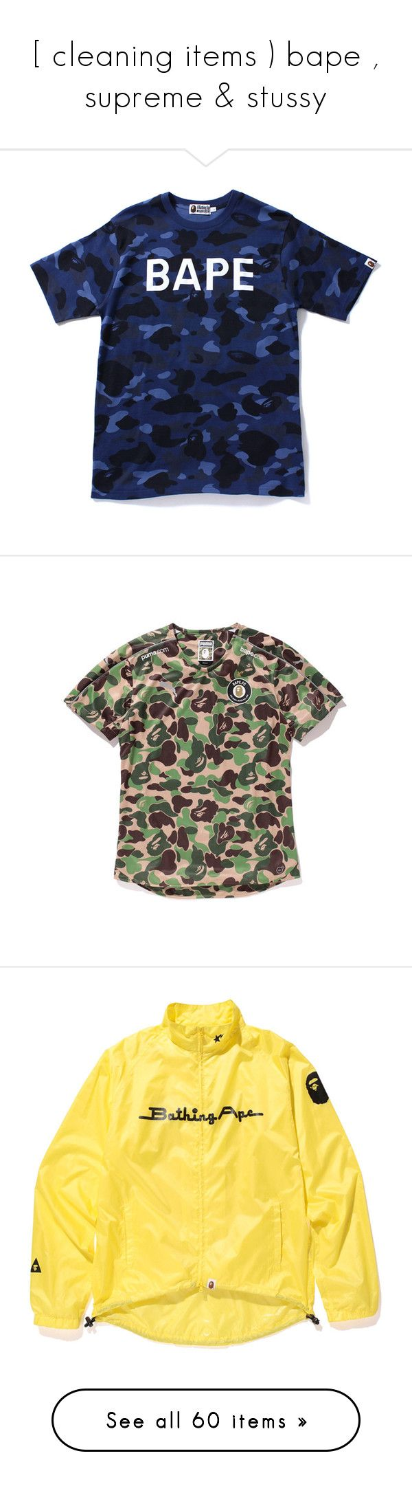 """""""[ cleaning items ) bape , supreme & stussy"""" by o-ndulado ❤ liked on Polyvore featuring tops, t-shirts, shirts, camouflage t shirts, camo tee-shirt, t shirt, camouflage tee-shirt, blue shirt, activewear and polyester shirt"""