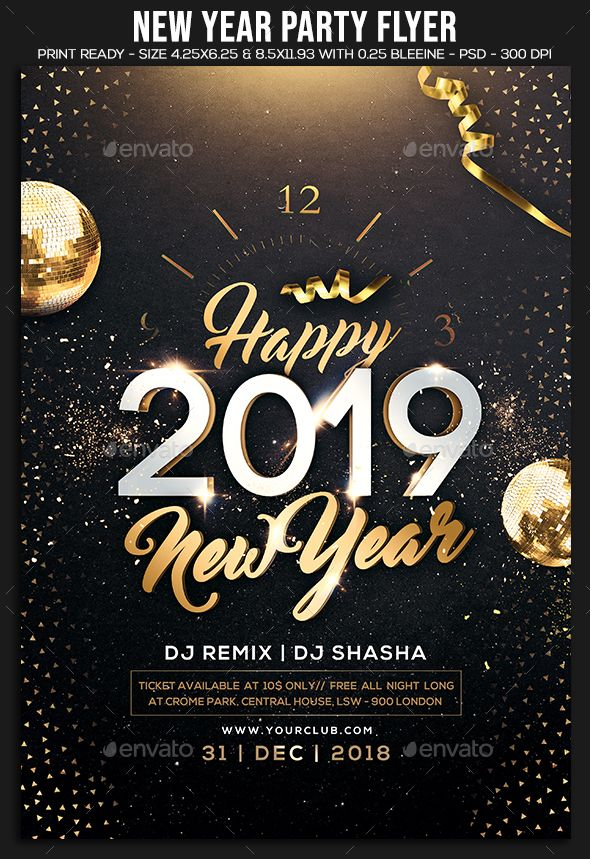 2019 New Year Party Flyer Template Psd Easy Editable Text Cmyk 300 Dpi Print Ready