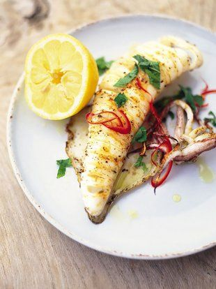 Chargrilled Whole Squid   Seafood Recipes   Jamie Oliver Recipes