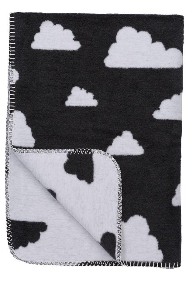 Meyco babydeken wieg/ledikant Little Clouds zwart-wit