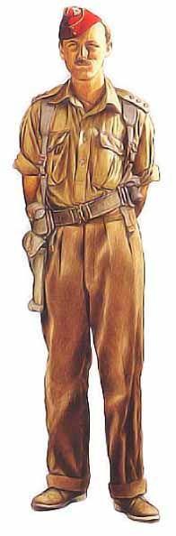 Capitaine, Hussards du roi, 1941 Dans les déserts d'Afrique du Nord, les officiers de cavalerie britanniques portaient souvent des calots aux couleurs vives ornés d'insignes brodés, comme on peut le voir ici. Sur ses épaules, ce capitaine des Hussards du roi (King's Own Hussards) porte des étoiles fixées à des épaulettes amovibles en coutil kaki. Les officiers arboraient un pantalon de velours côtelé et des bottes en daim à semelles en caoutchouc surnommés chukka.
