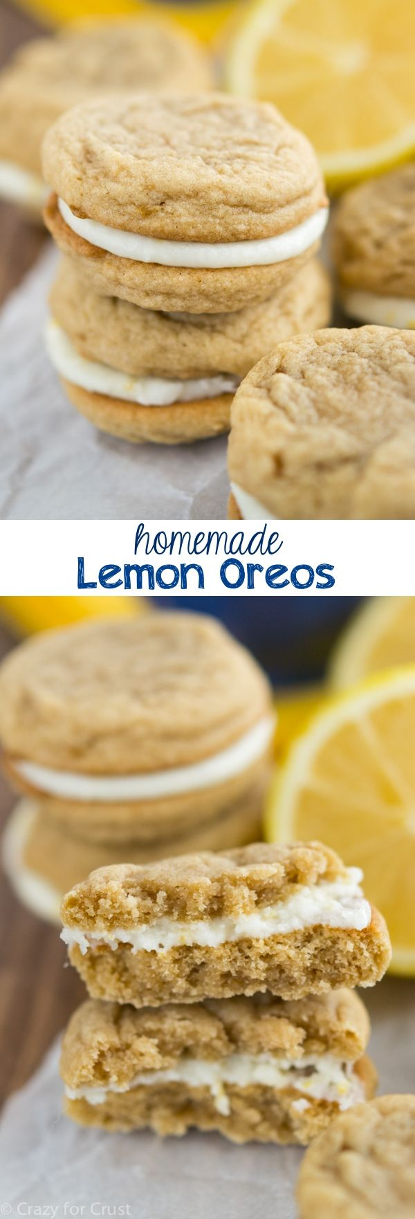 Homemade Lemon Oreos - Crazy for Crust