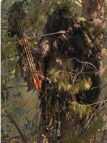 This ghillie suit is designed for archers in that the shooting arm and chest areas are left without the jute/burlap material as to not interfere with the action of the bow string. This ghillie suit covers from head to boot and comes with 2 additional pounds of jute/burlap and 2 applications of fire retardant. $129.53