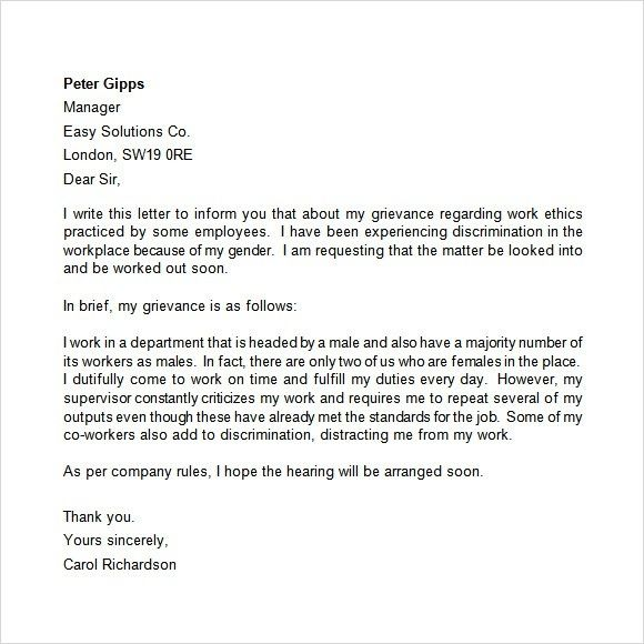Grievance Letter Sample To Employer from i.pinimg.com