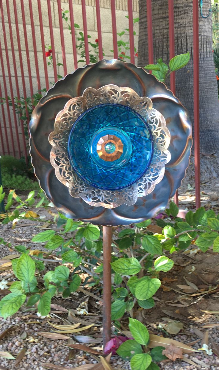 Copper And Blue Glass Garden Art