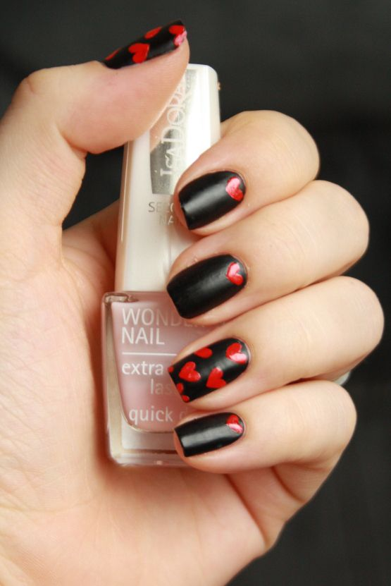hearts of night nail art