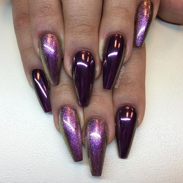 By adding the chrome powder, you can easily turn your acrylic into mirrored  chrome nails. Here are some beautiful long chrome nails ideas for you. - The 25+ Best Purple Acrylic Nails Ideas On Pinterest Acrylic