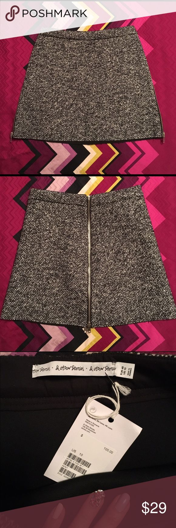 """& Other Stories wool tweed zip mini skirt NWT &Other Stories Eur 40/US 10 Contemporary brand affiliated with H&M...super cute tweed mini that is bonded with scuba fabric on the inside.  Side zips go all the way up to the waist in silver nickel for easy access!  Can also be worn with zippers up the center front and back.  Great fall/winter addition to any wardrobe.  18"""" total length, 29-30"""" waist & Other Stories Skirts Mini"""