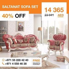 Add a bit of elegance to Your living room! This sumptuous Saltanat sofa set features pink fabric upholstery with a pattern of colorful roses on the gold color fabric and a frame in a striking white finish with gold-color finished curved leaves. Its ideal for using as a statement piece in modern Victorian interior design for a taste of luxury without sacrificing comfort. This set includes two pieces one seater two pieces three seater and a table. #livingroom #saltanat #furniture #loveDubai…