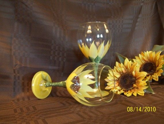 Hand Painted Wine Glasses with Sunflower Design by diceydesigns