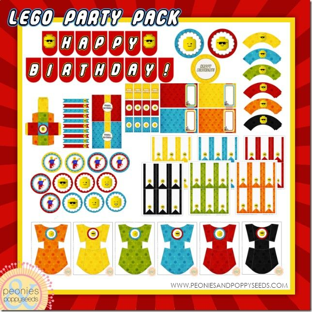 Free lego birthday party printable set