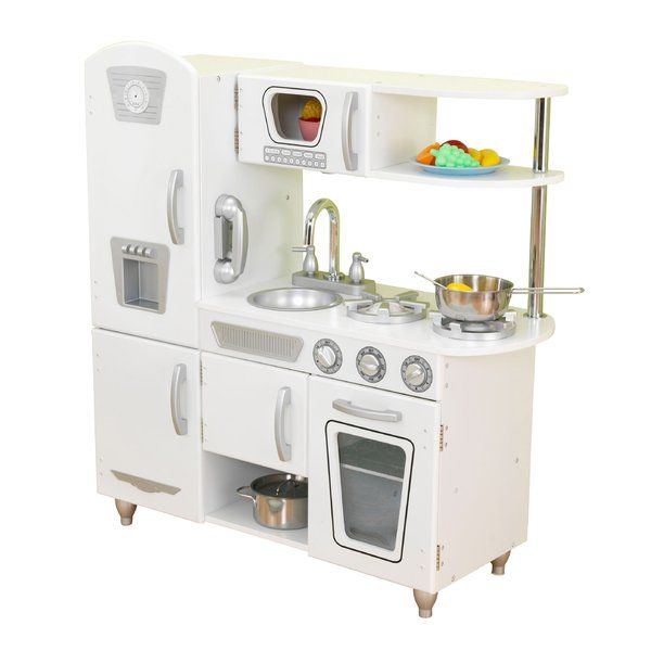 This KidKraft Vintage Kitchen is the perfect birthday gift for your little one. It is made of wood, which ensures strength and durability. It has a hand-painted finish, which looks visually appealing. It features a cabinet, shelf, and five hinged doors, which open and close for realistic play. It also features a removable sink for easy cleanup. The oven knobs click and turn, offering a realistic feel. This Vintage Kitchen by KidKraft looks great in any room in your home and has enough room…