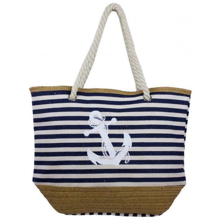 Nautical Theme Striped Beach Tote Bag Canvas Twine Body Braided Rope Handles NWT #Simi #SummerBeachBag
