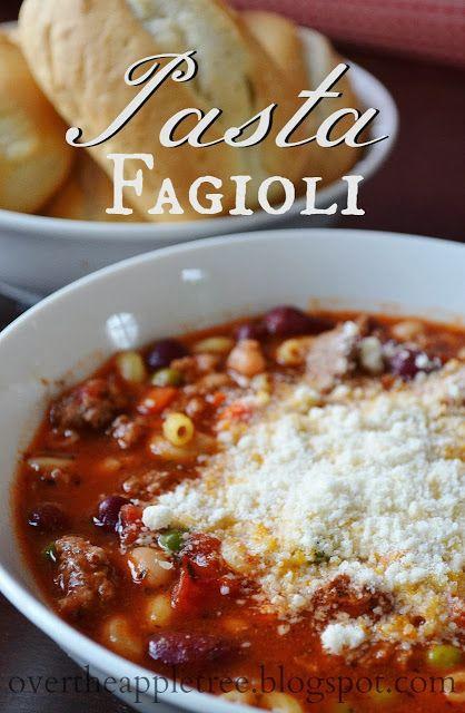 Pasta Fagioli, Hearty Italian Soup Recipe by Over The Apple Tree